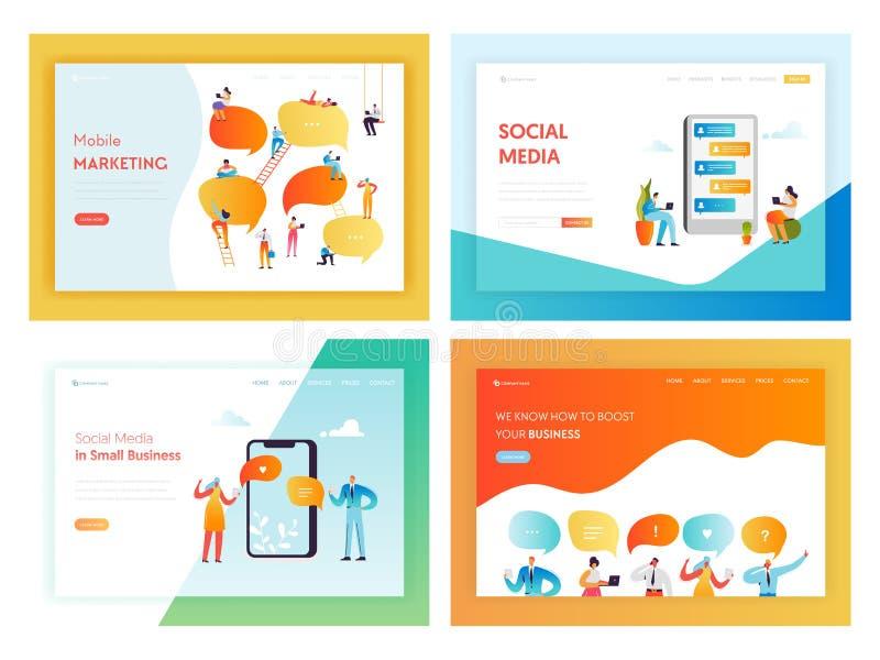 Social Media-Vernetzungs-Konzept-Landungs-Seite vektor abbildung