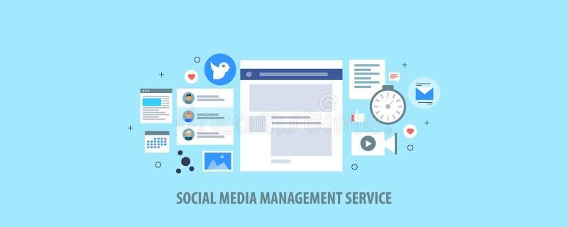 Social Media-Verwaltungsservice - Social Media-Veröffentlichung - zufriedenes Automatisierungskonzept Flache Designvektorfahne vektor abbildung