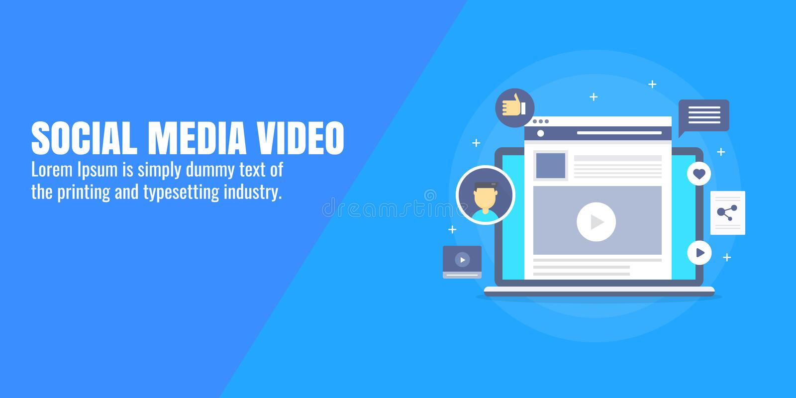 Social media, video marketing, video promotion on social network, content advertising concept. Flat design vector banner. Video marketing on social media stock illustration