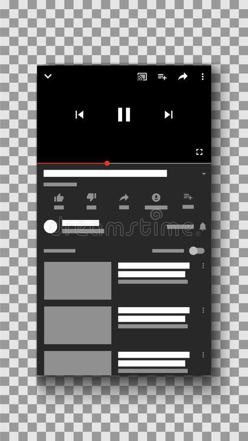 Social media video player mobile phone ui interface, media player template stock illustration