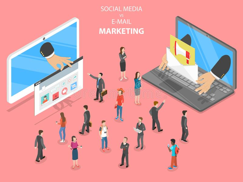 Social media vs e-mail marketing flat vector. Social media vs e-mail marketing flat isometric vector. Two devices with different digital marketing way are royalty free illustration