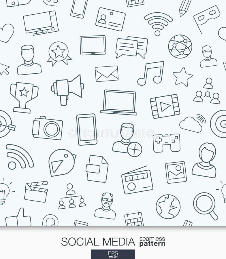 Social Media wallpaper. Network communication seamless pattern. Tiling textures with thin line web icons set. Vector illustration. Abstract background for stock illustration