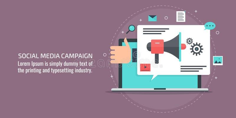 Social Media-Werbekampagne, Markenförderung, digitale Medien, Internet-Werbung, zufriedenes Marketing-Konzept Flache Fahne vektor abbildung