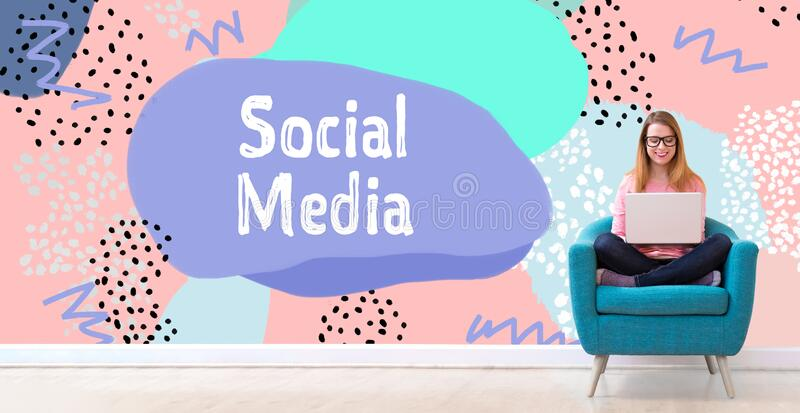 Social media with woman using a laptop stock photo