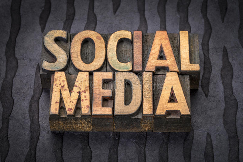 Social media word abstract in wood type royalty free stock photos