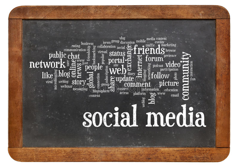 Download Social Media Word Cloud On Blackboard Stock Photo - Image of media, share: 35684956