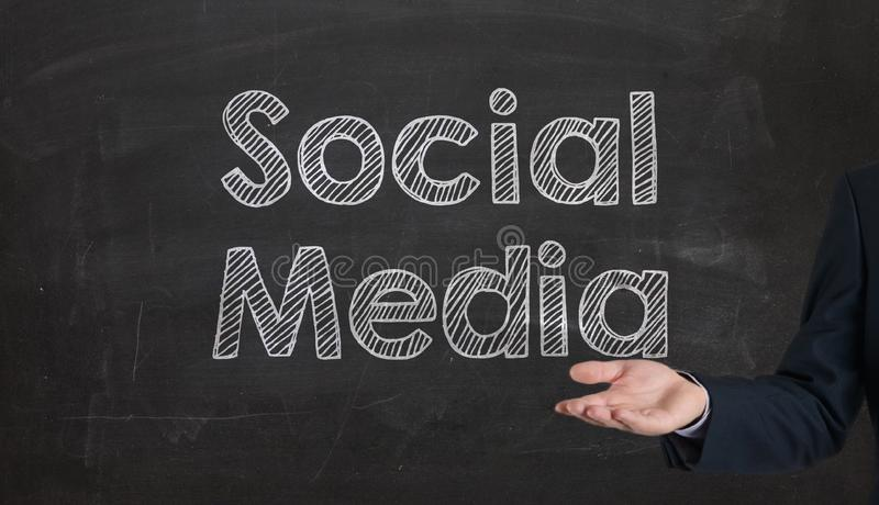 Social media word cloud written on a chalkboard presenting by ha. Nd royalty free stock image