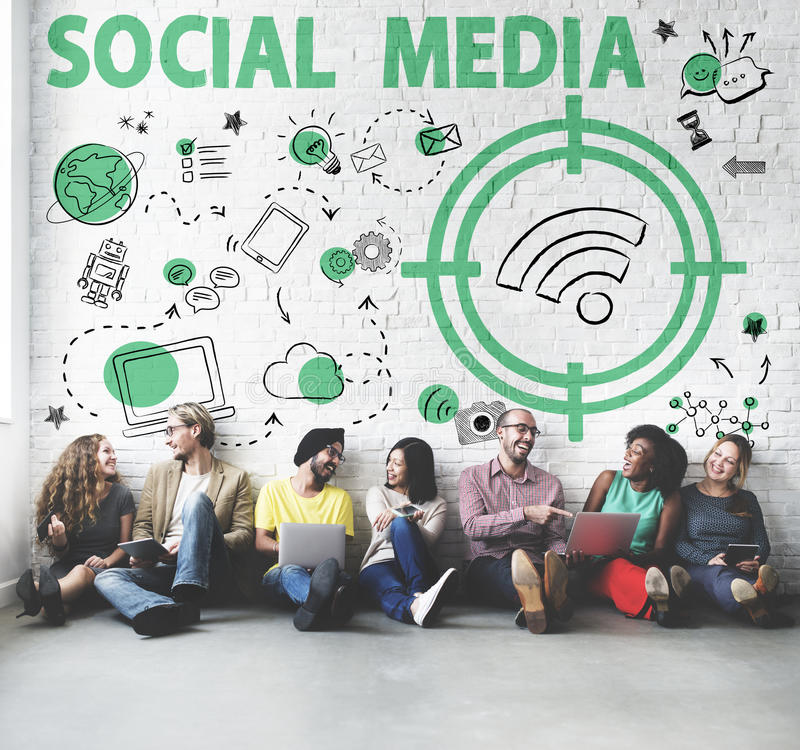 Social Media Word Wifi Signal Concept royalty free stock photography