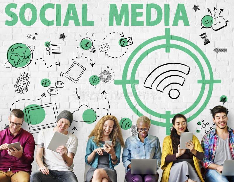 Social Media Word Wifi Signal Concept. People Using Social Media Word Wifi Signal royalty free stock photos