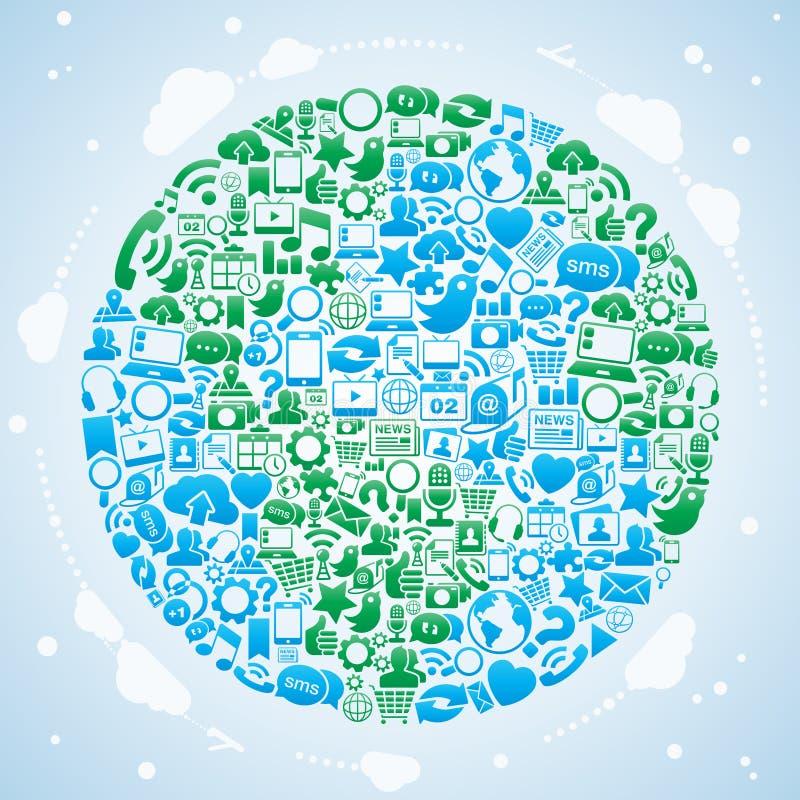 Social Media World stock illustration