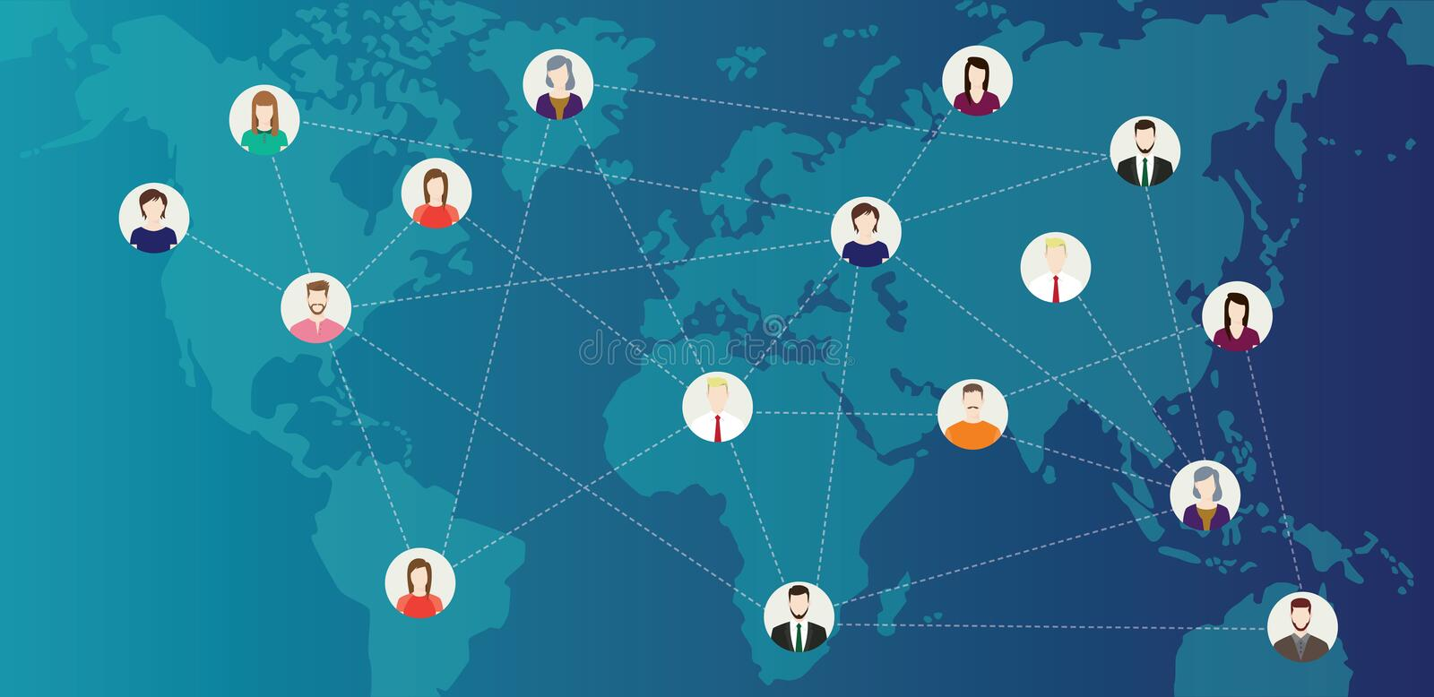 Social media world connected people with line connecting around the world on top of world maps - vector stock illustration