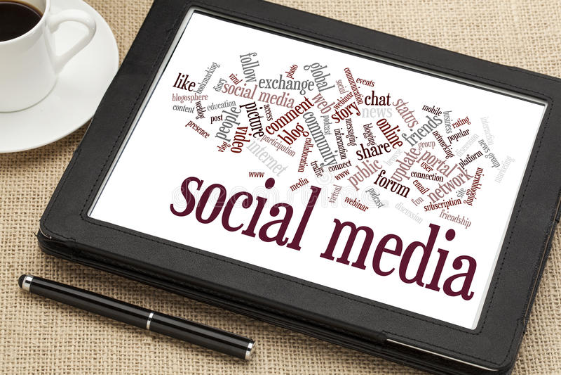 Social Media-Wortwolke stockfotos