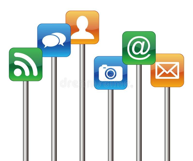 Social Media-Zeichen lizenzfreie abbildung