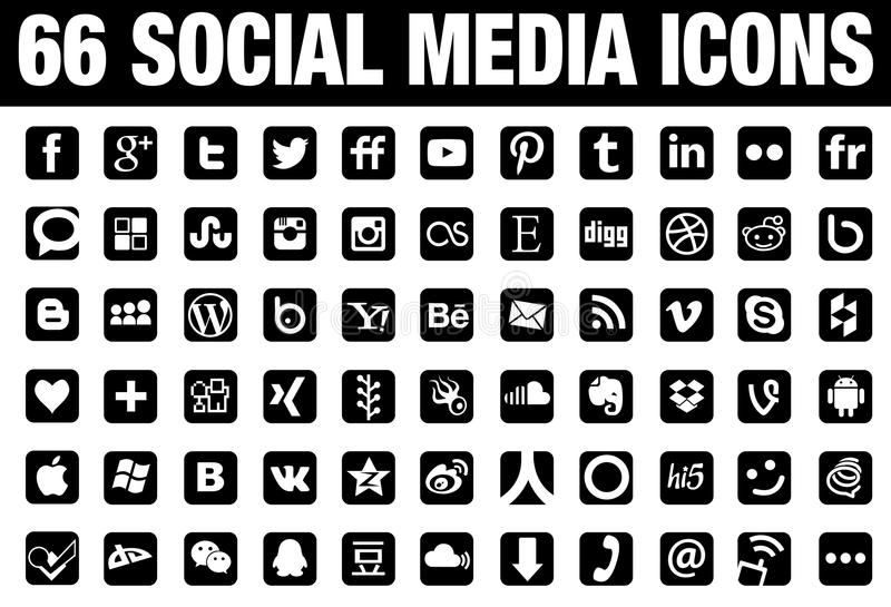 Social media icons. Set of 66 different social media icons on white background