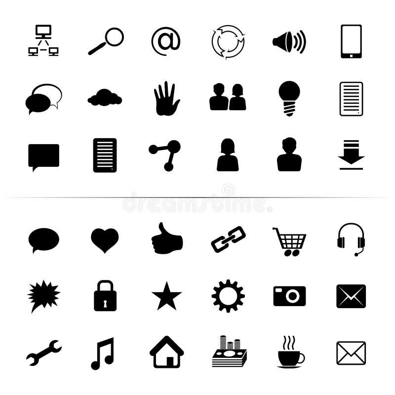 Social monokrom för svart för massmediasymbolsknapp royaltyfri illustrationer