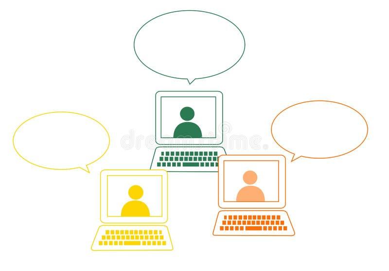 Social nätverkande bubblar stock illustrationer