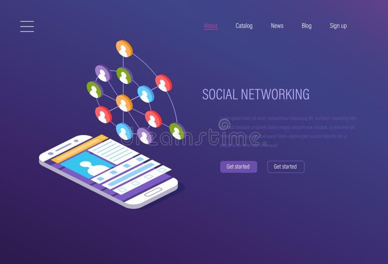 Social nätverkande, socialt massmedia som marknadsför, digital kommunikation av internetanvändare vektor illustrationer