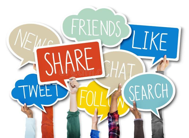 Social nätverkandeanslutningsteknologi som delar begrepp arkivbild
