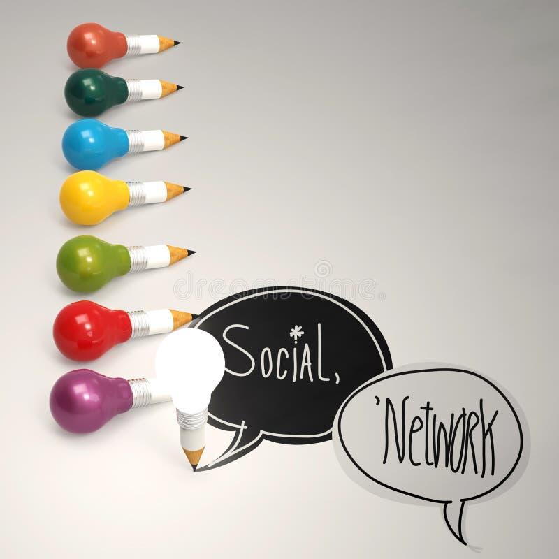 SOCIAL NÄTVERKS- och blyertspennalightbulb 3d vektor illustrationer
