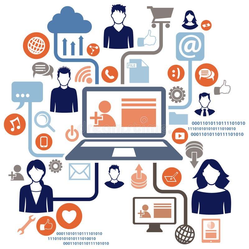 Social nätverksdator royaltyfri illustrationer
