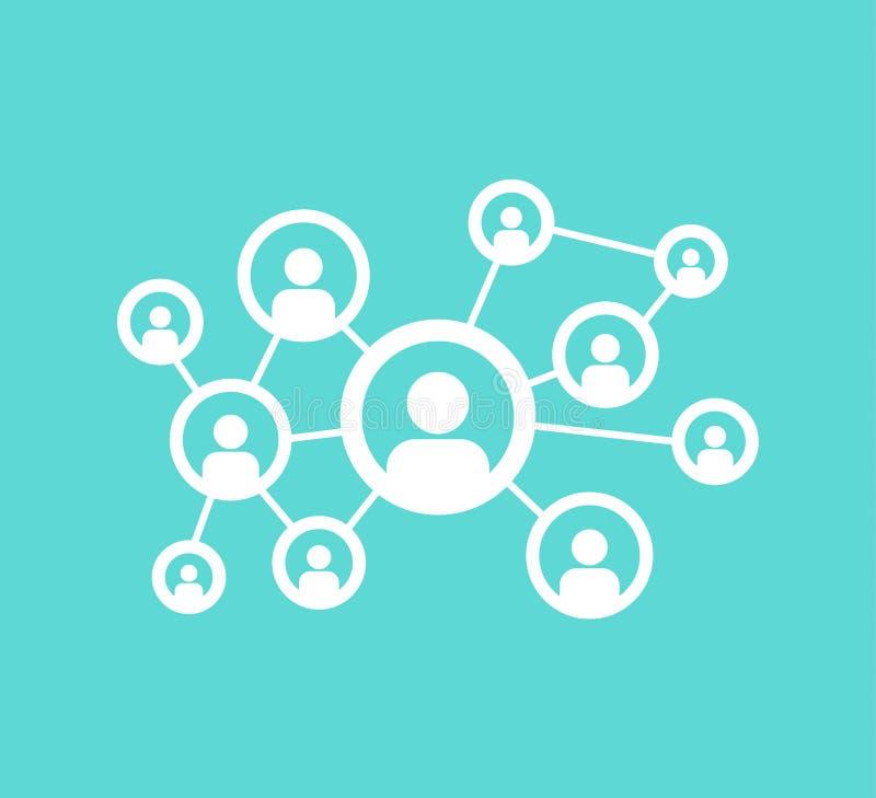 Social nätverkskommunikation för folk, för förhållandeanslutning för intranät globala symboler royaltyfri illustrationer