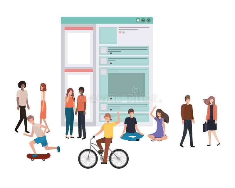 Social nätverksprofil med grupp människor som går avatarteckenet royaltyfri illustrationer