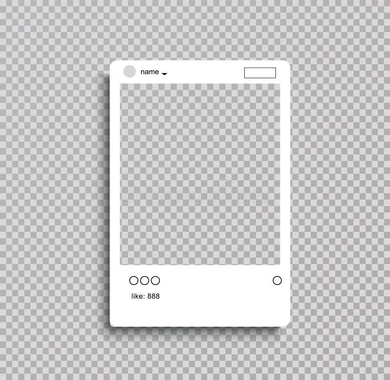 Social nätverksstolperam för ditt foto transperent bakgrund också vektor för coreldrawillustration - Mappen för vektorn stock illustrationer