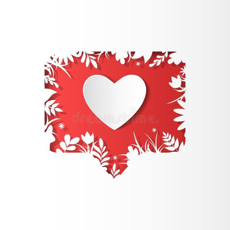 Social nätverkssymbolsanhängare, ny kommentar, papperssnittstil royaltyfri illustrationer