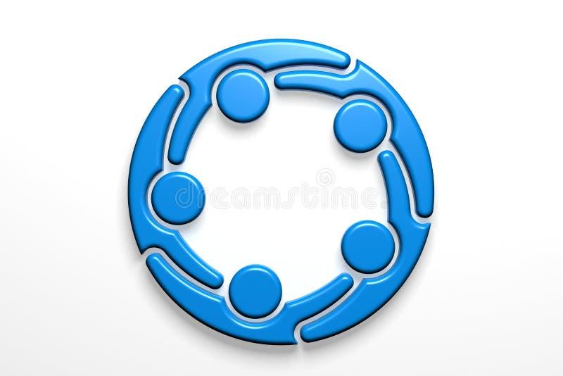 Social nätverksteamworklogo illustrationen 3d framför vektor illustrationer