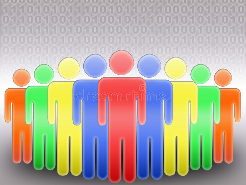 Social Network (06). Concept of social network. group of people and binary code background vector illustration