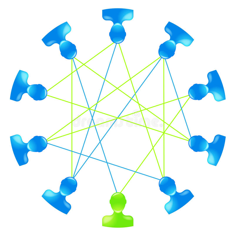 Social network. Ten heads illustrating the importance of a social network vector illustration
