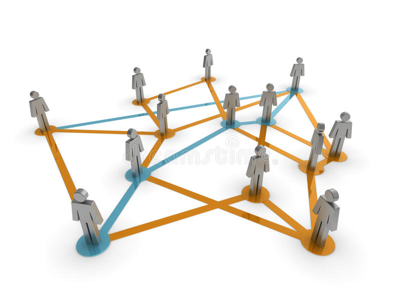 Social Network. Illustration representing a network of connected people on a white background stock illustration