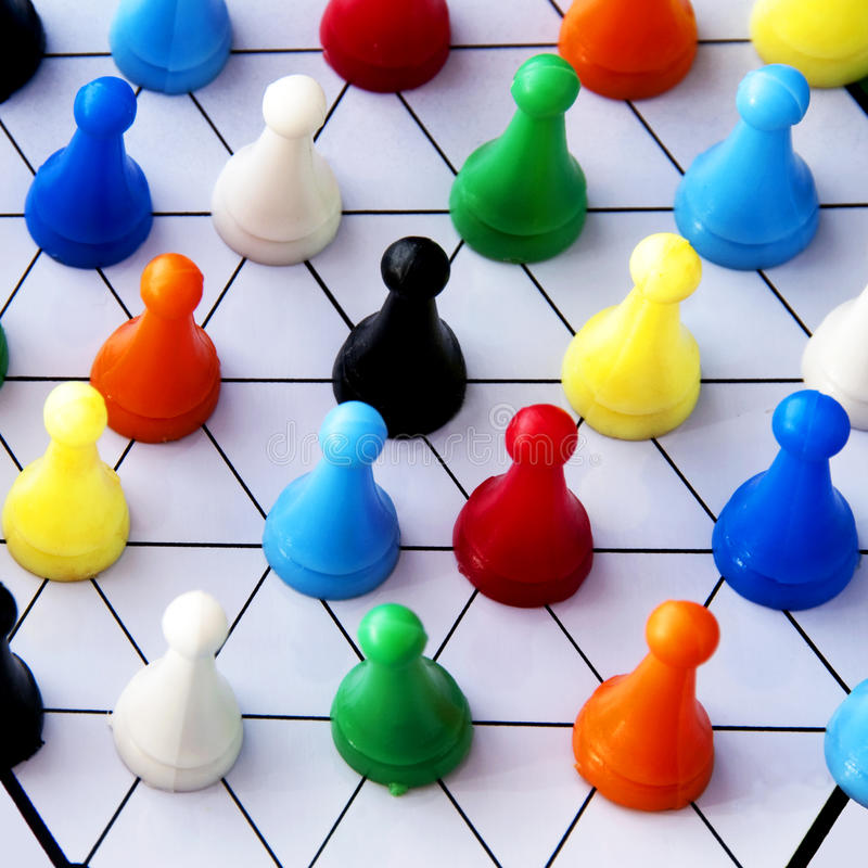 Social network. Networking concept with colorful plastic people or checkers - networking, organizational groups, or workgroups - Business concept - the focus is
