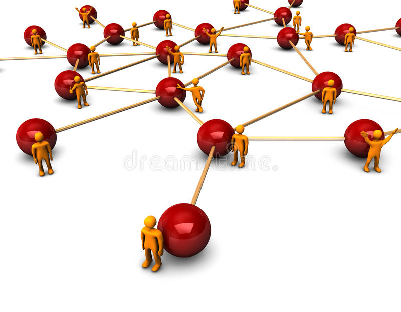 Social Network. Abstractly rendering of the social network with funny orange persons, on the white background stock illustration