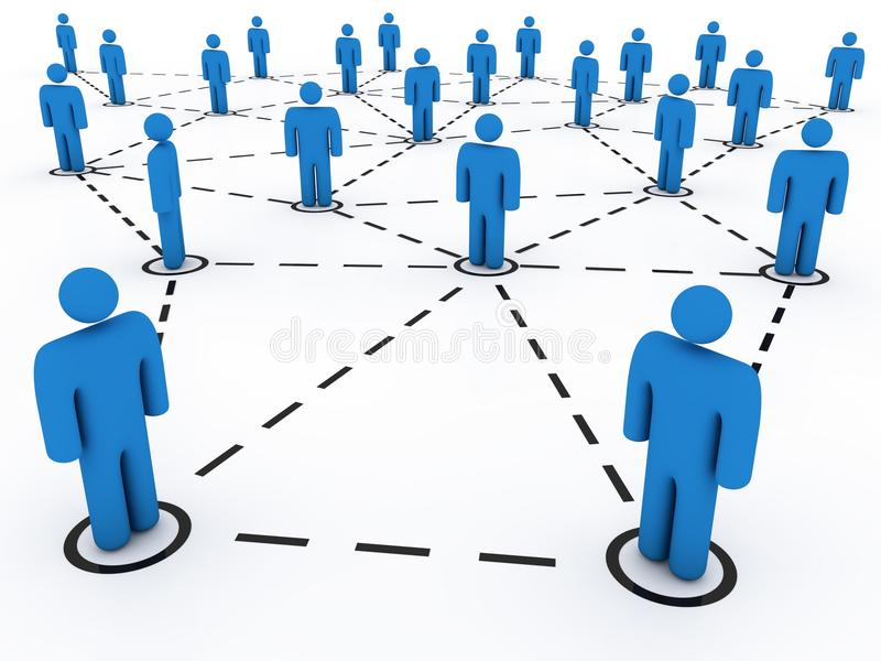 Social network. Linked and isolated figures. Network concept stock illustration
