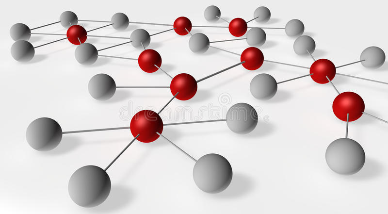 Social Network. Illustration with influencers marked in red royalty free illustration