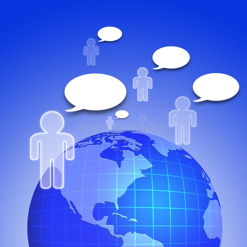 Social network. Concept with people and speech bubbles royalty free illustration