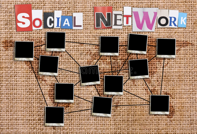 Social network. Concept with blank photo frames in canvas background stock illustration