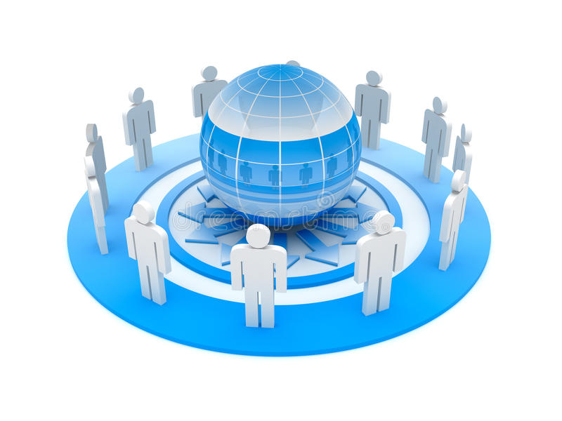 Social network. 3d people characters and ball on white background vector illustration