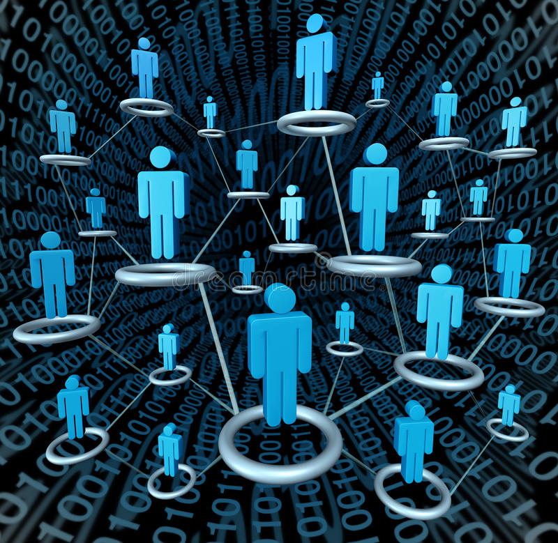Social Network. Social business network linked together by a connected web in dimensional space as a cloud computing internet concept of technology and digital stock illustration