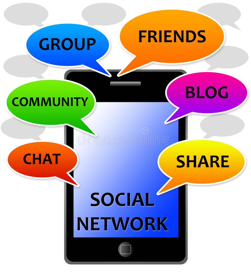 Social network. Using modern technology in a social network royalty free illustration