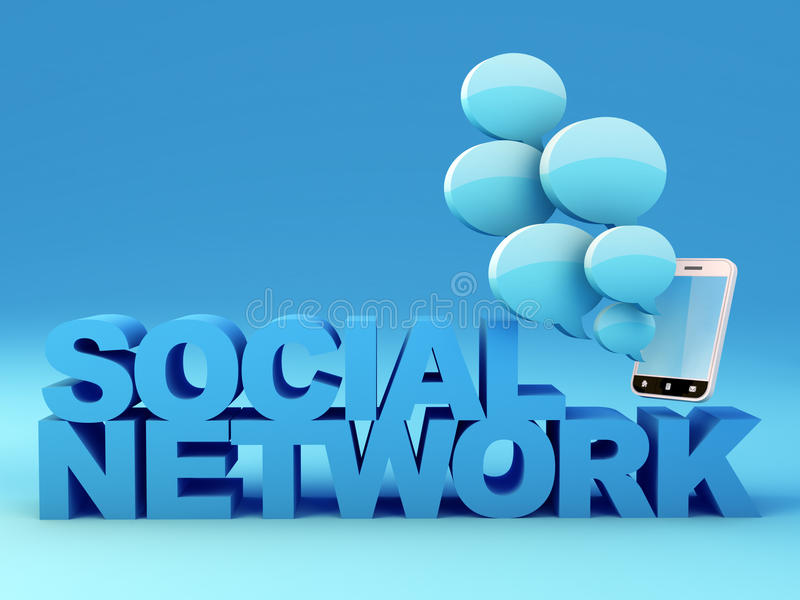 Social network. Concept. Smartphone with speech bubbles. 3D Render royalty free illustration