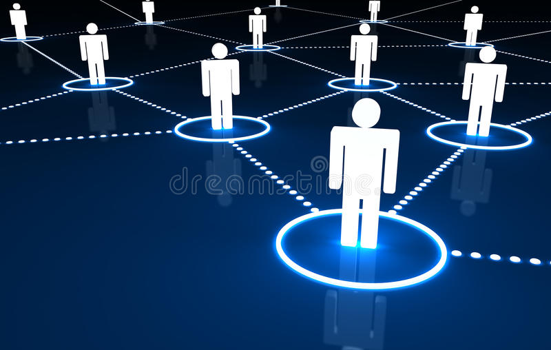 Social Network. Concept with connection of 3d people by dotted neon lines on dark blue background vector illustration