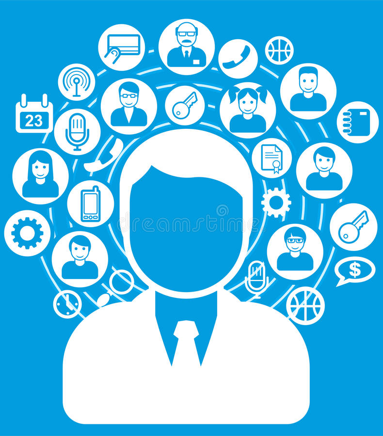 Social network. And connections concept icons and avatars royalty free illustration