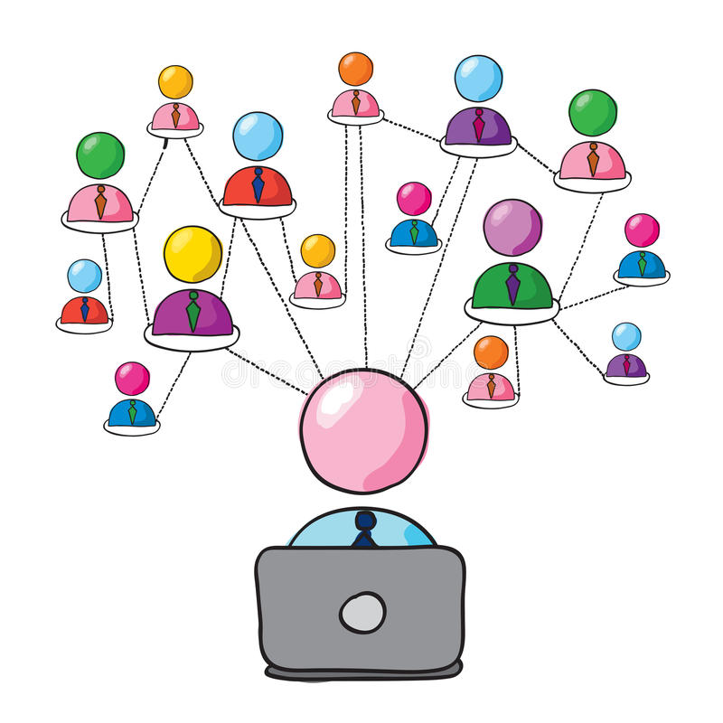 Social network. Man figure connecting with his social network royalty free illustration