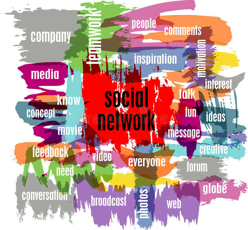 Social network. Concept, illustration, with strokes royalty free illustration