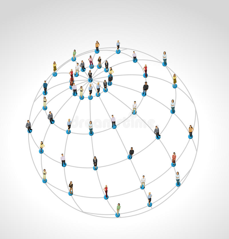 Social network. Connected people over earth globe. Social network royalty free illustration