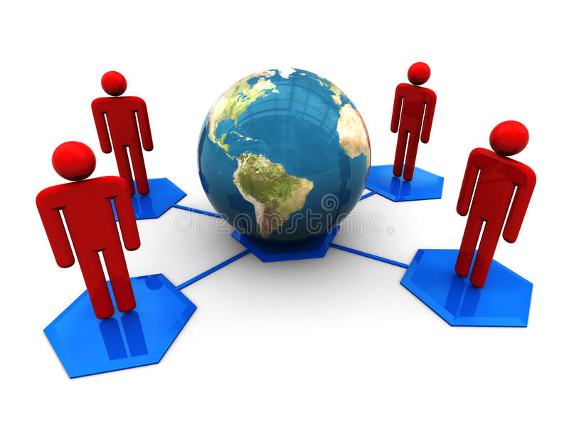 Social network. 3d illustration of social network symbol with globe, over white background royalty free illustration