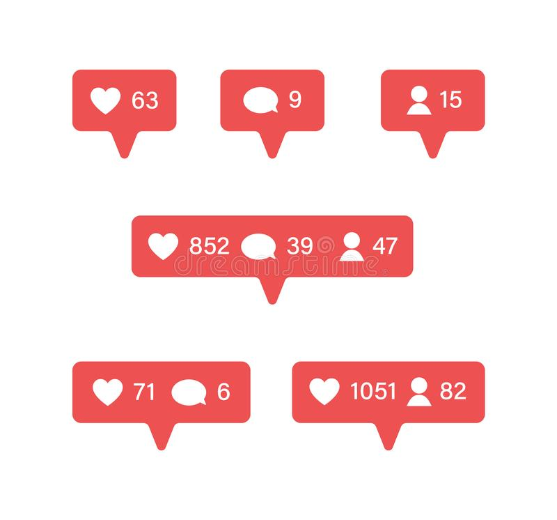 Social network app symbols of heart like set. Notifications templates. New message bubble, friend request quantity. Number. Flat design, vector illustration on royalty free illustration
