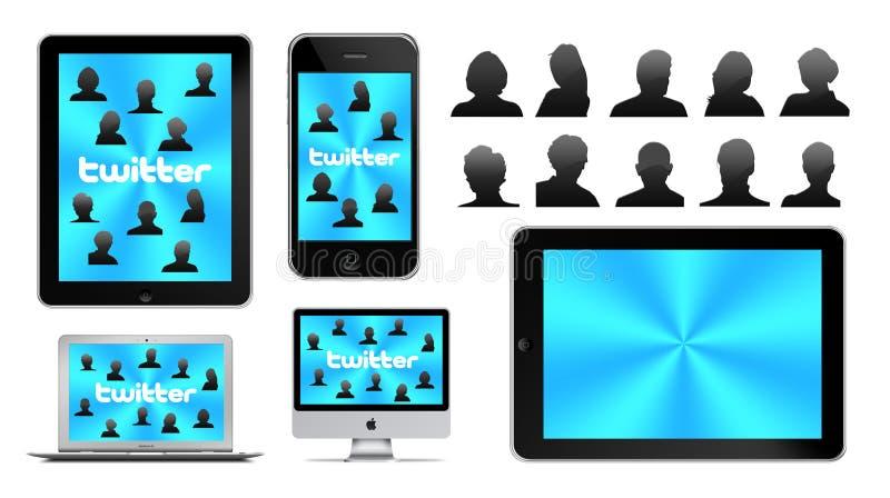 Social network on Apple royalty free illustration